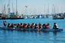 The entire crew teaming up to paddle a dragon boat at the Jack London Aquatic Center in Oaklan, CA.